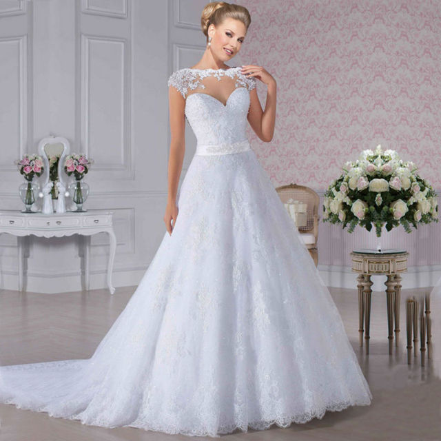 2016 Lace Cap Sleeve Princess Wedding Bridal Dress Dresses