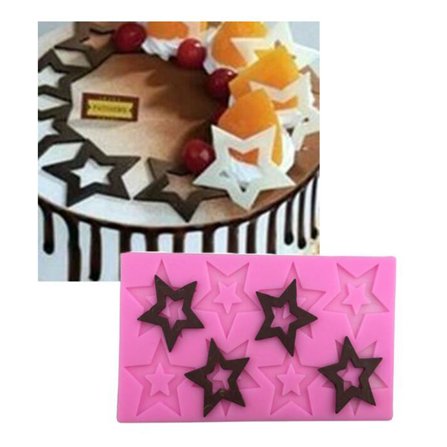 Hollow Five Pointed Star Silicone Mold Chocolate Cake Fondant Lace Cake Decorating Kitchen Baking Tools
