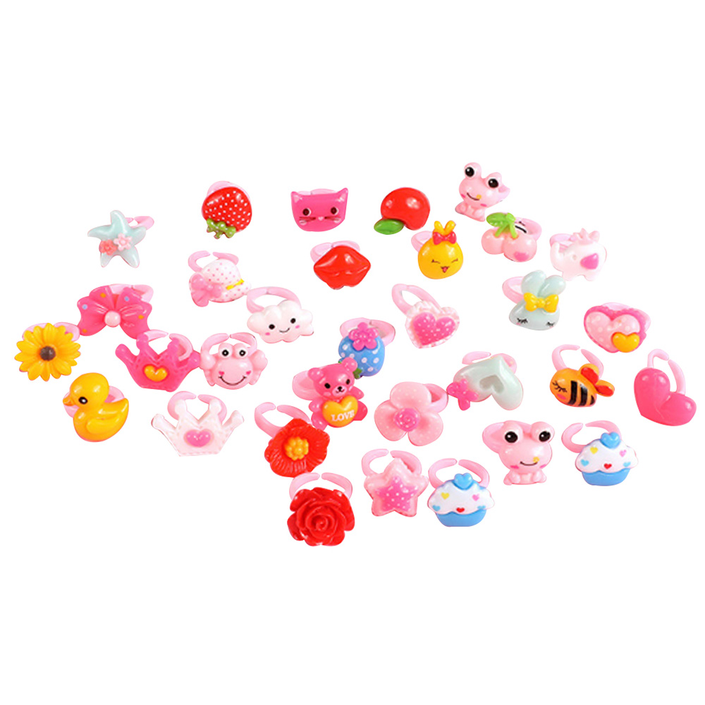 50pcs/lot Children's Ring Plastic Animal Girls Princess Children Kids  Combo Multi Patterns Child Gifts Finger Rings