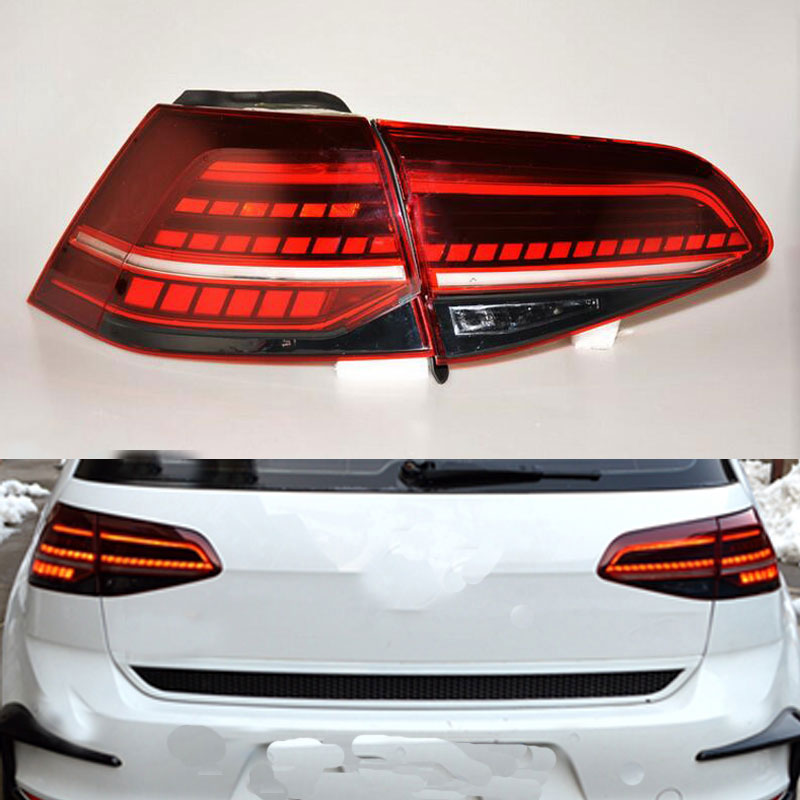 MZORANGE 4 PCS/1 Set Tail Lights Flow for VW Golf 7.5 MK 7.5 2013 2016 LED Red Tail Lights Rear Light Automobile Car Styling