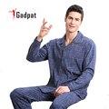 Gadpat Пижамы Мужчин Хлопка С Длинными рукавами Трикотажные Сна Весна И Осень Мужская Пижама Lounge Мужчины Пижамы Установить плюс размер М-4XL