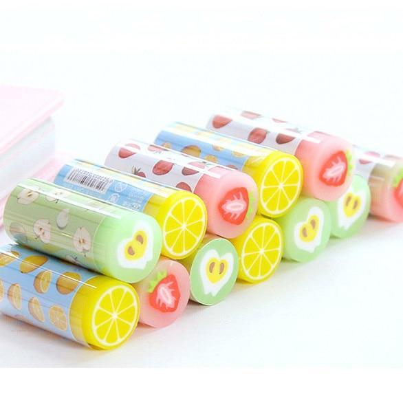 30pcs Kawaii Soft Eraser Novelty Cute Fruit Erasers Rubber For Kids School Student 2B Pencil Eraser Korean Stationary Supplies