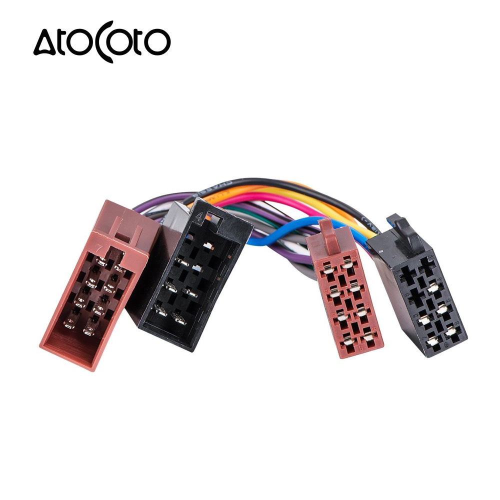 AtoCoto Male to Female ISO Lead Stereo Radio Wiring Harness Adaptor Cable  Connector Loom for VW