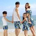 2016 nueva mamá de verano e hija vestido a juego padre e hijo camiseta + pantalones cortos establecidos paño familia niñas y mamá de la playa del vestido