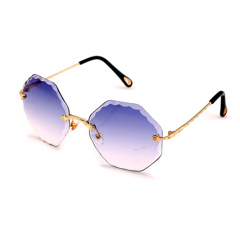 New Creative Fashion Harajuku Vintage Trim Polygon Frameless Sunglasses Women Gradient Color Online Celebrity