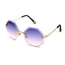 New Creative Fashion Harajuku Vintage Trim Polygon Frameless Sunglasses Women Gradient Color Online Celebrity