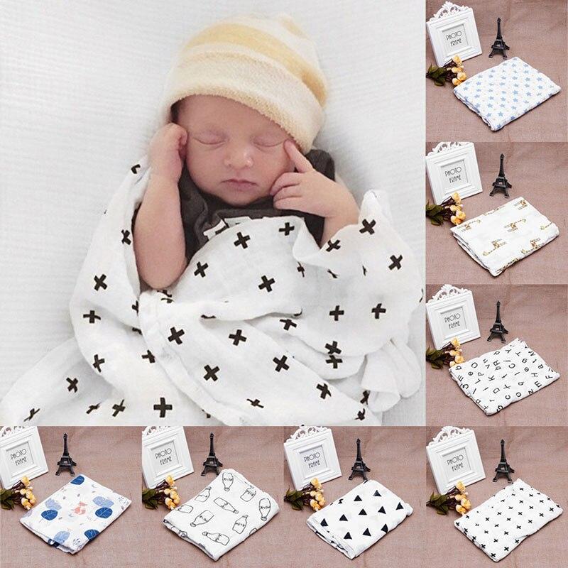 White Soft Muslin Newborn Baby Swaddle Blanket Infant Cotton Swaddling Towel