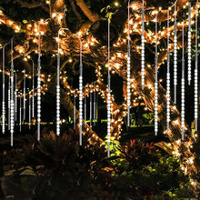 8pcs/Set 30-50cm Colorful Meteor Shower Rain Tubes Warm White LED String Light for Garden Tree Wedding Party Holiday Decor(China)