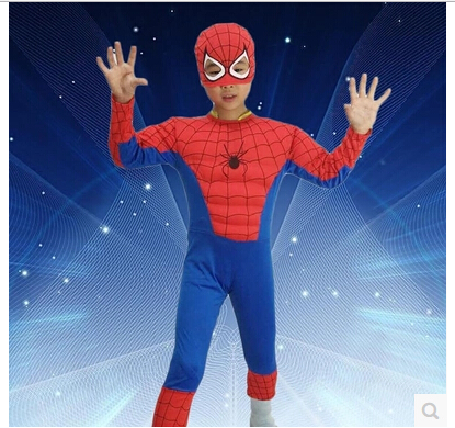 Children Spiderman Costume Kids Halloween Christmas Party Superman Cosplay Costume Boy Spider Man Tight Muscle Jumpsuit + Mask