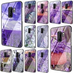 Чехол для телефона из закаленного стекла с фиолетовыми цветами лаванды, для Galaxy S7 edge, S8, 9, 10 Plus, Note 8, 9, 10, A10, 20, 30, 40, 50, 60, 70