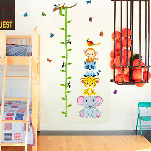 Funny Animals Zoo Monky Giraffe Bird Baby Children Height Measure Growth  Chart Wall Stickers Kids Room Home Nursery Decal