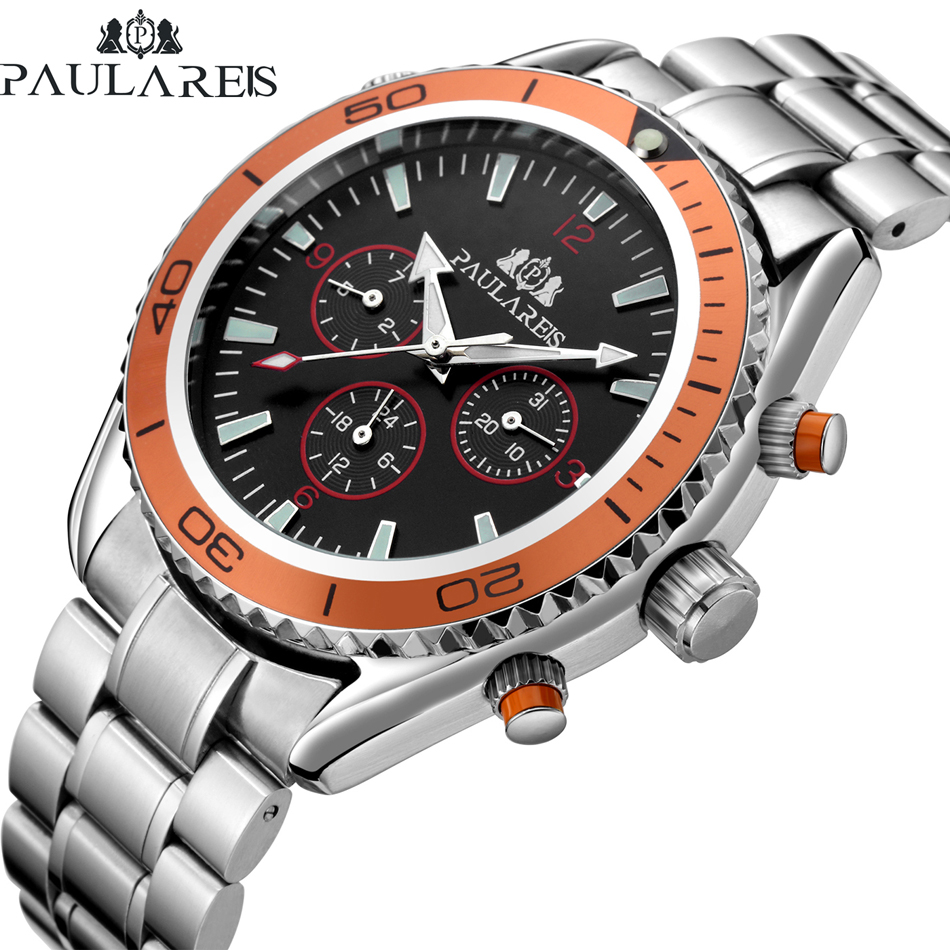 Men Automatic Self Wind Mechanical Stainless Steel Strap James Bond 007 Style Orange Blue Black Dial Bezel Classic Watch