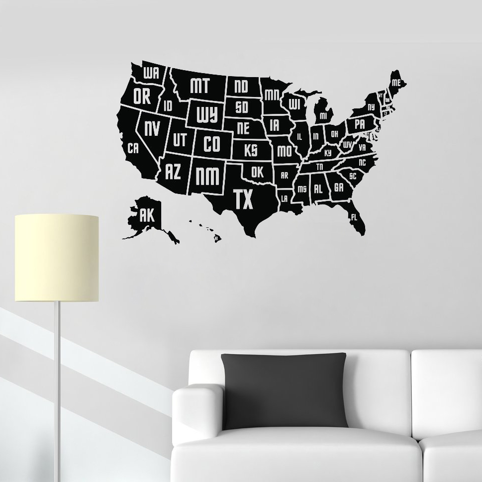 New Design USA Map Wall Sticker Decal Vinyl Home Office Wall Decor Mural Modern Art Map  ...