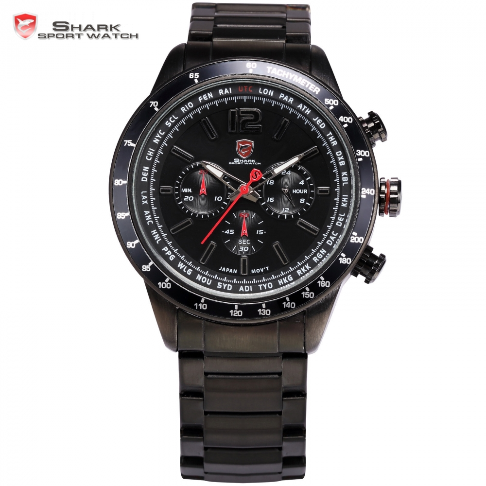 Pacific Angel Shark Sport Watches Chronograph Relogio Black Red Full Steel Strap Clock Men Quartz Military Wristwatch / SH315 oysters pacific 454 black
