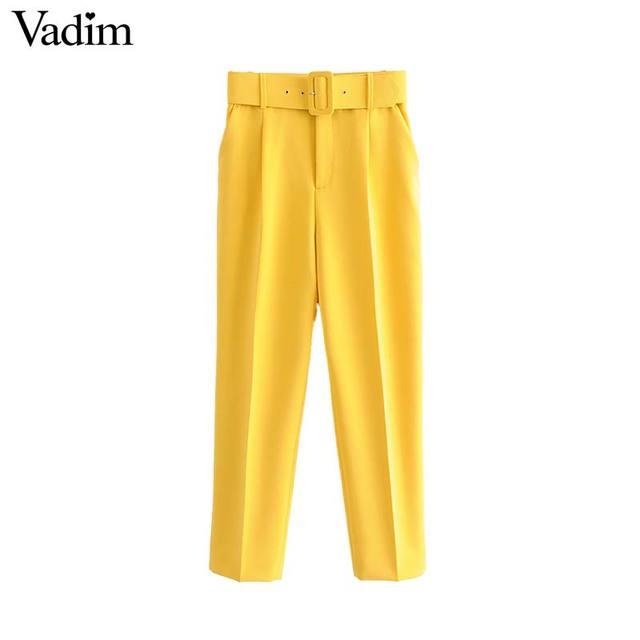 Vadim women elegant solid pants sashes pockets zipper fly design office wear trousers female casual long pantalones KA830