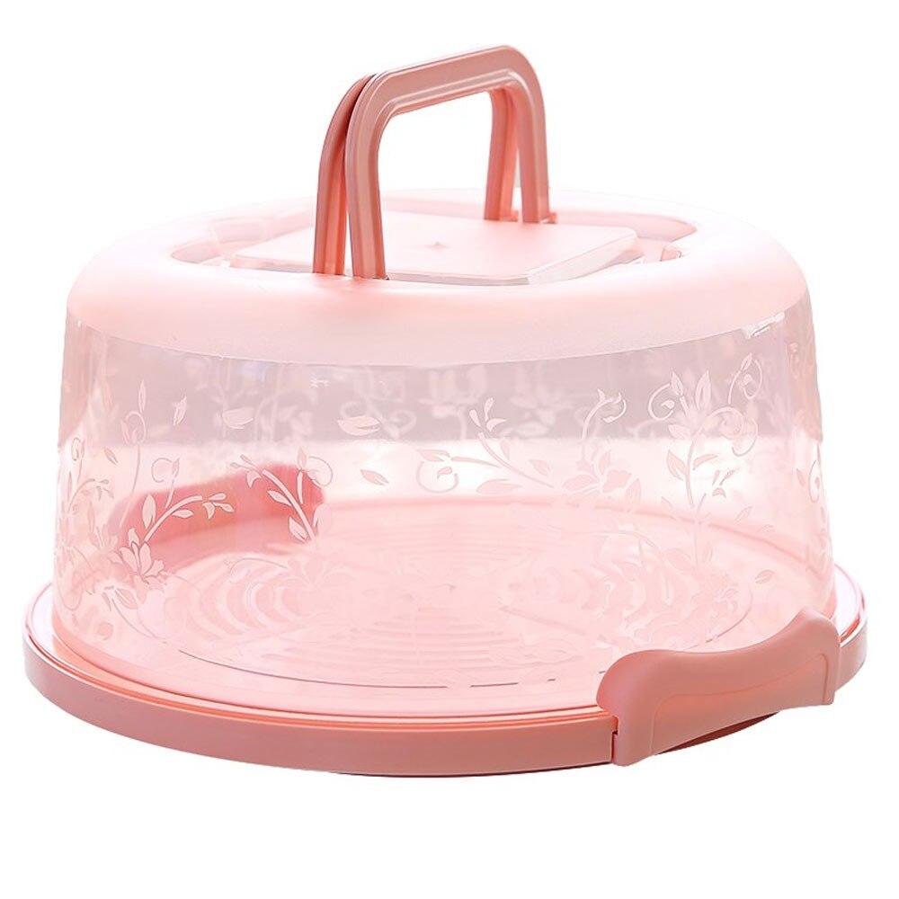 Контейнер для кексов карманная упаковочная прочный круглый коробка для хранения торта портативная кухонная принадлежность пластиковый контейнер для пирога с днем рождения - Цвет: pink