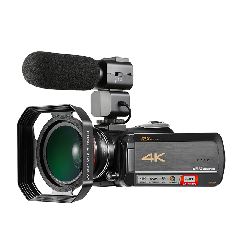 Winait UHD 4k WIFI digital video camera with 3.0'' touch display and 12 x optical zoom digital camcorder