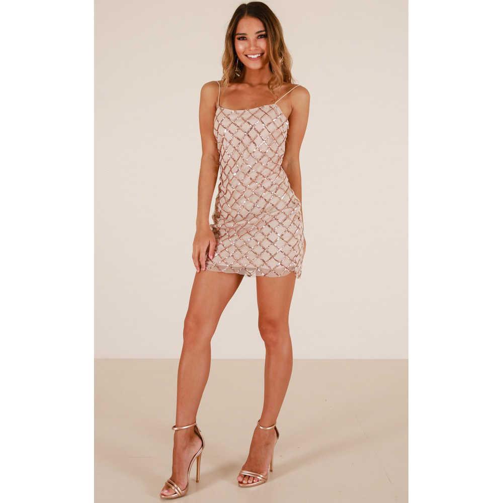 Весенне-летнее женское платье в клетку с узором из бисера бежевое платье на бретельках с открытой спиной модный сексуальный вечерние клуб для мероприятий мини-платье