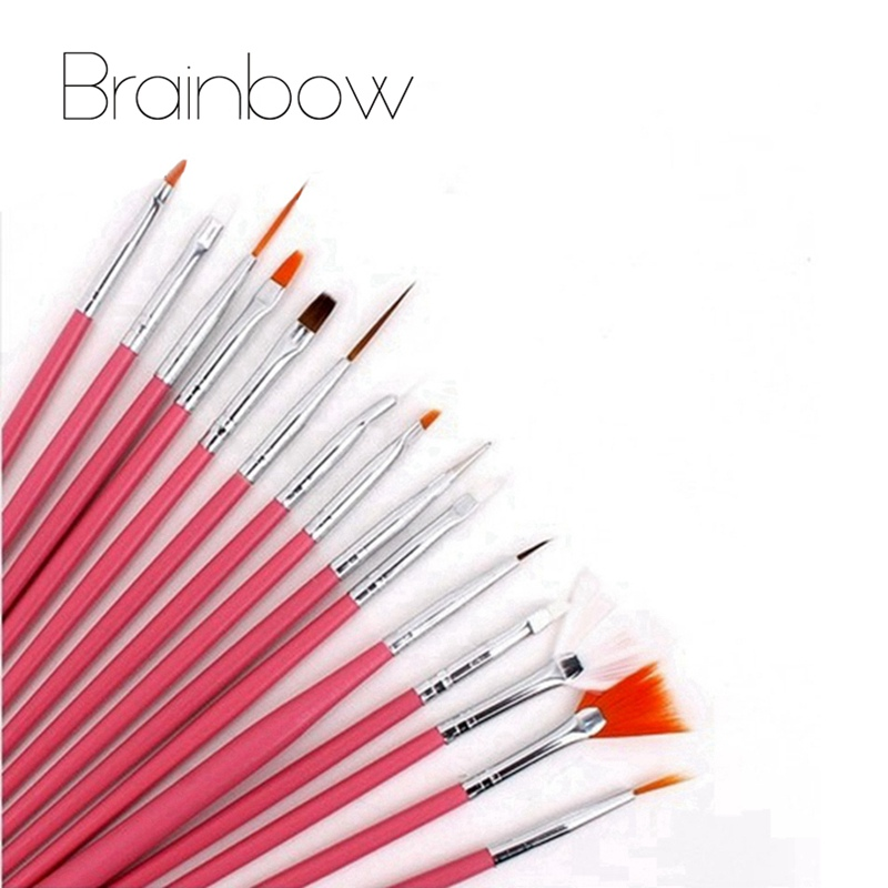 Brainbow 15pc/pack Acrylic Nail Art Brush Set Painting Pen for False Nail UV Nail Gel Polish 3D Beauty Salon Manicure Tips Tools