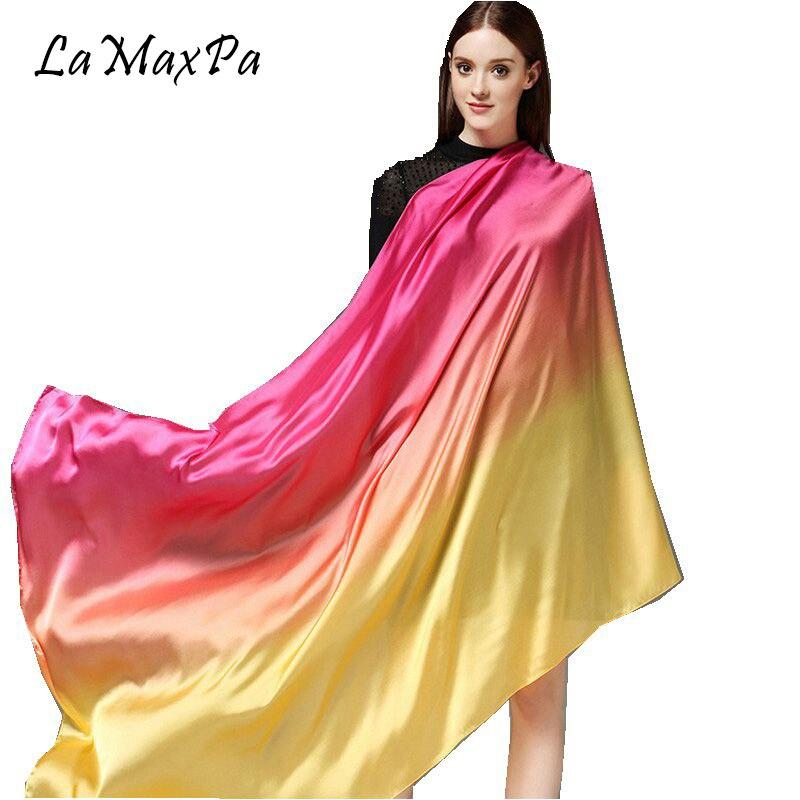 LaMaxPa 2018 Fashion Women Silk Scarf Soft Touch Silk Echarpe For Female Spring & Autumn Beach Shawl Lady Smooth Feel Scarves