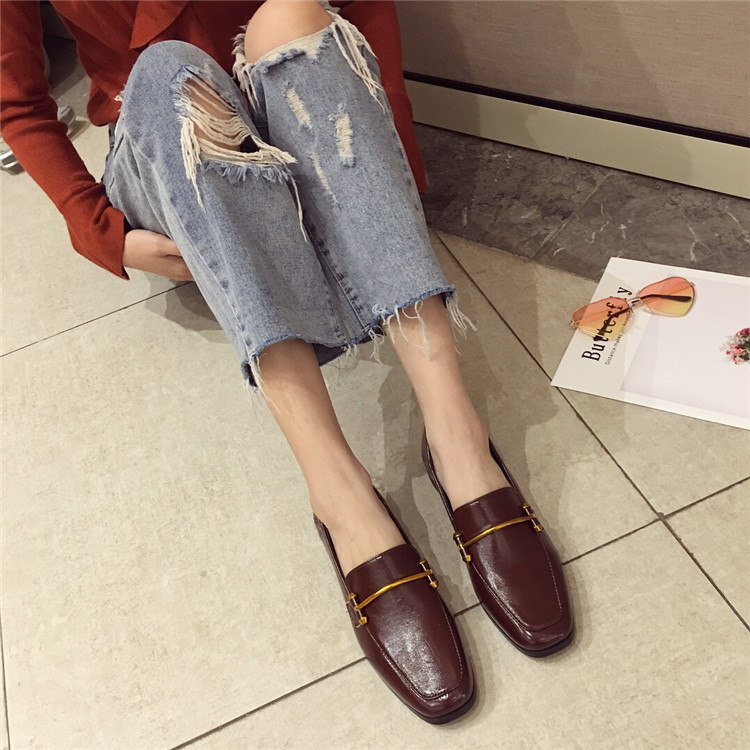 Fashion shoes for women 2018 new soft bottom British shoes woman square head single shoes female thick with flat shoes loafers 71