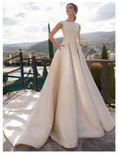 SoDgine Ivory Wedding Dress Satin Fabric 2019 Elegant Boat Neck bridal gown dress Floor Length Bride Dresses Lace Up Back