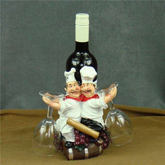 Handmade Cook Figurine Wine Bottle Holder Decorative Resin Chef Statue Goblet Hanger Barware Utensil Ornament Craft Accessories