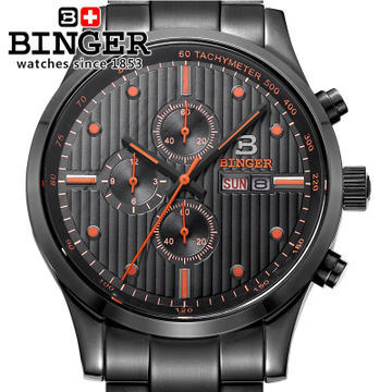 Brand Binger new 2017 fashion luxury analog sport font b military b font style black steel