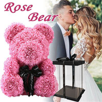 Artificial Flowers 40cm Rose Bear Girlfriend Anniversary Christmas Valentine's Day Gift Birthday Present For Wedding Party