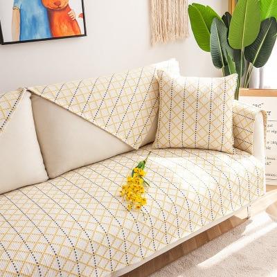 Cotton and linen sofa cushion, four seasons universal non-slip home fabric cover
