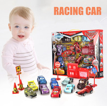 16PCS/Set Mini Cartoon Car Pull Back Inertia Transport Carrier Truck Racing Car Toy For Kid Children Gift