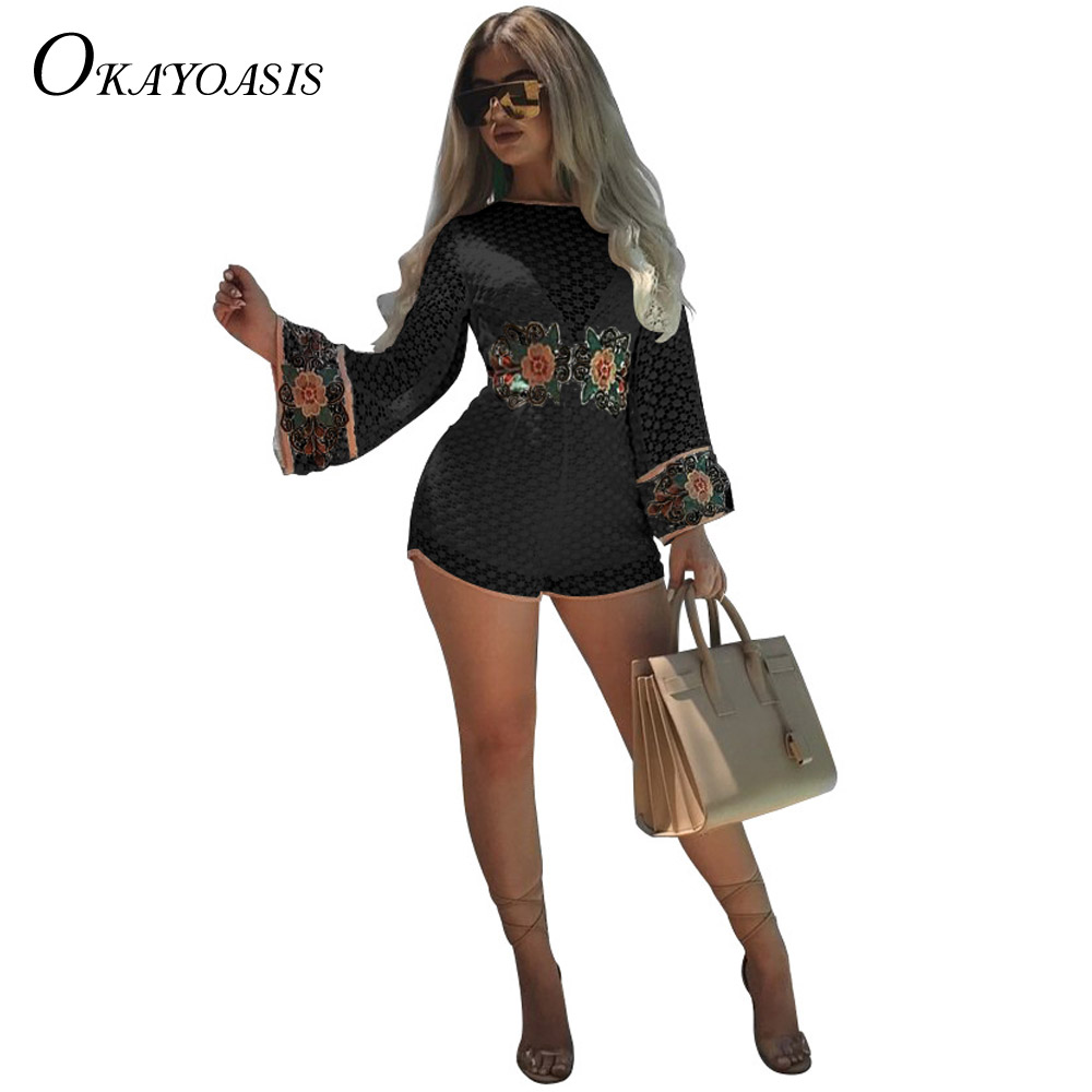 OKAYOASIS New 2018 Embroidery Lace Jumpsuit Romper Women Speaker Sleeves Overalls Casual Summer Beach Party Sexy Black Playsuit