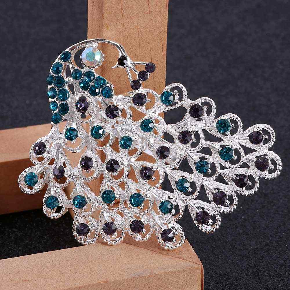 Hewan Peacock Bros Burung Crystal Bros Kepribadian Elegan Wanita Pins Multicolor Perhiasan Spilla