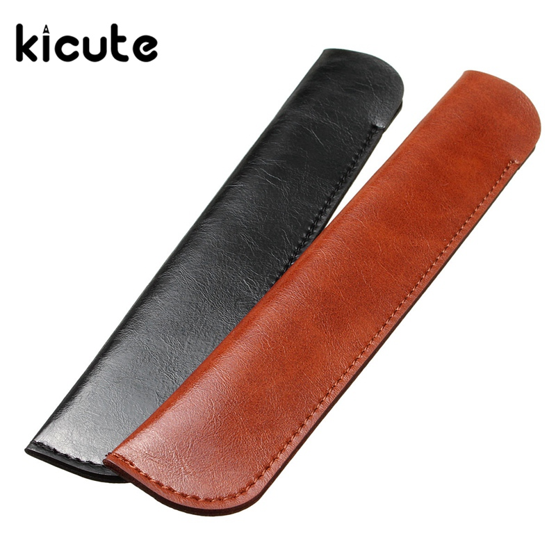 Kicute 1pcs Retro Microfiber PU Single Leather Pencil Case Fountain Pen Case Cover Sleeve Pouch Office School Supplies Gifts