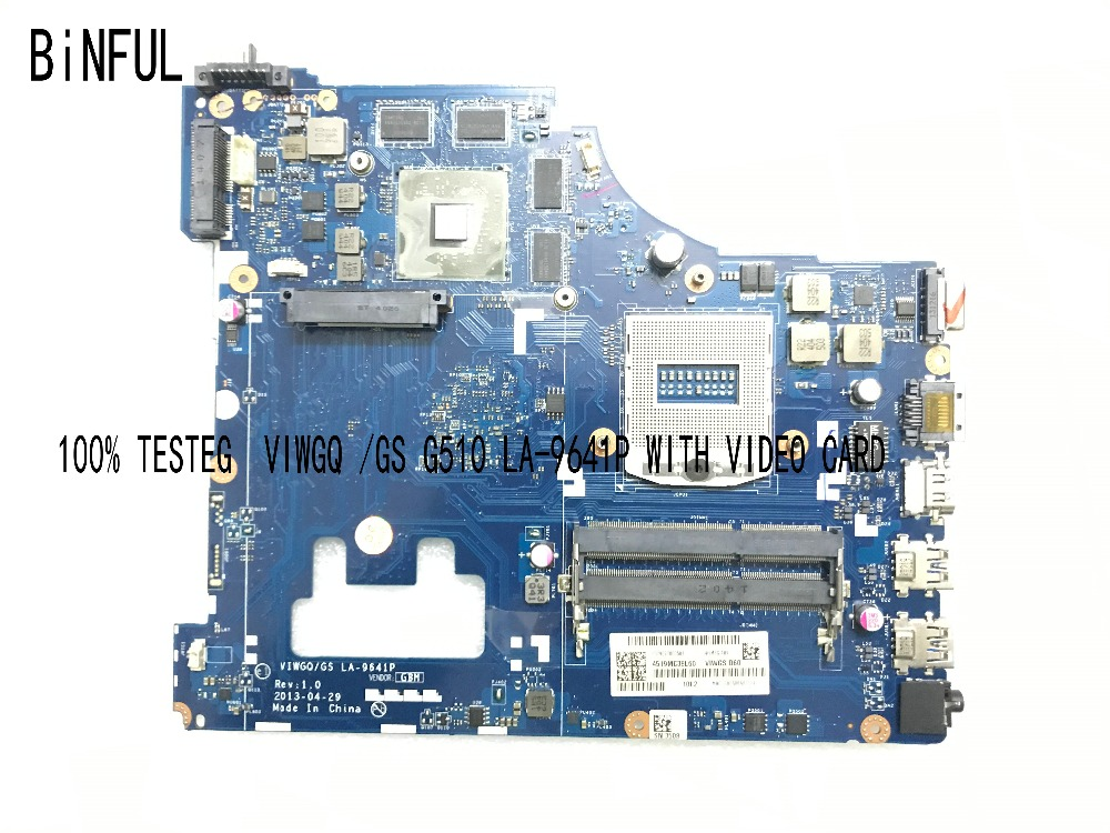 BiNFUL 100% New QUALITY VIWGQ / GS LA-9641P LAPTOP MOTHERBOARD  FOR LENOVO G510  NOTEBOOK WITH VIDEO CARD  PLEASE COMPARE