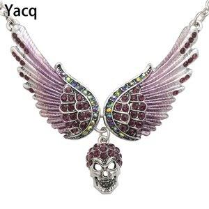 YACQ ангельские крылья, колье с черепом, байкерское Ювелирное Украшение Guardian, подарок для женщин, серебряный цвет NC07, Прямая поставка (18 + 2)