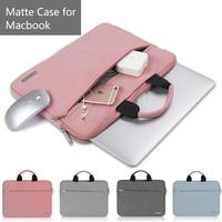 New Matte Leather Laptop Breifcase Bags For Apple Macbook 12 Case Air Pro 13 Bag Retina