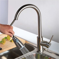 Kitchen Faucet Silver Single Handle Pull Out Kitchen Tap Single Hole Handle Swivel 360 Degree Water Mixer Tap Mixer Tap Dropship