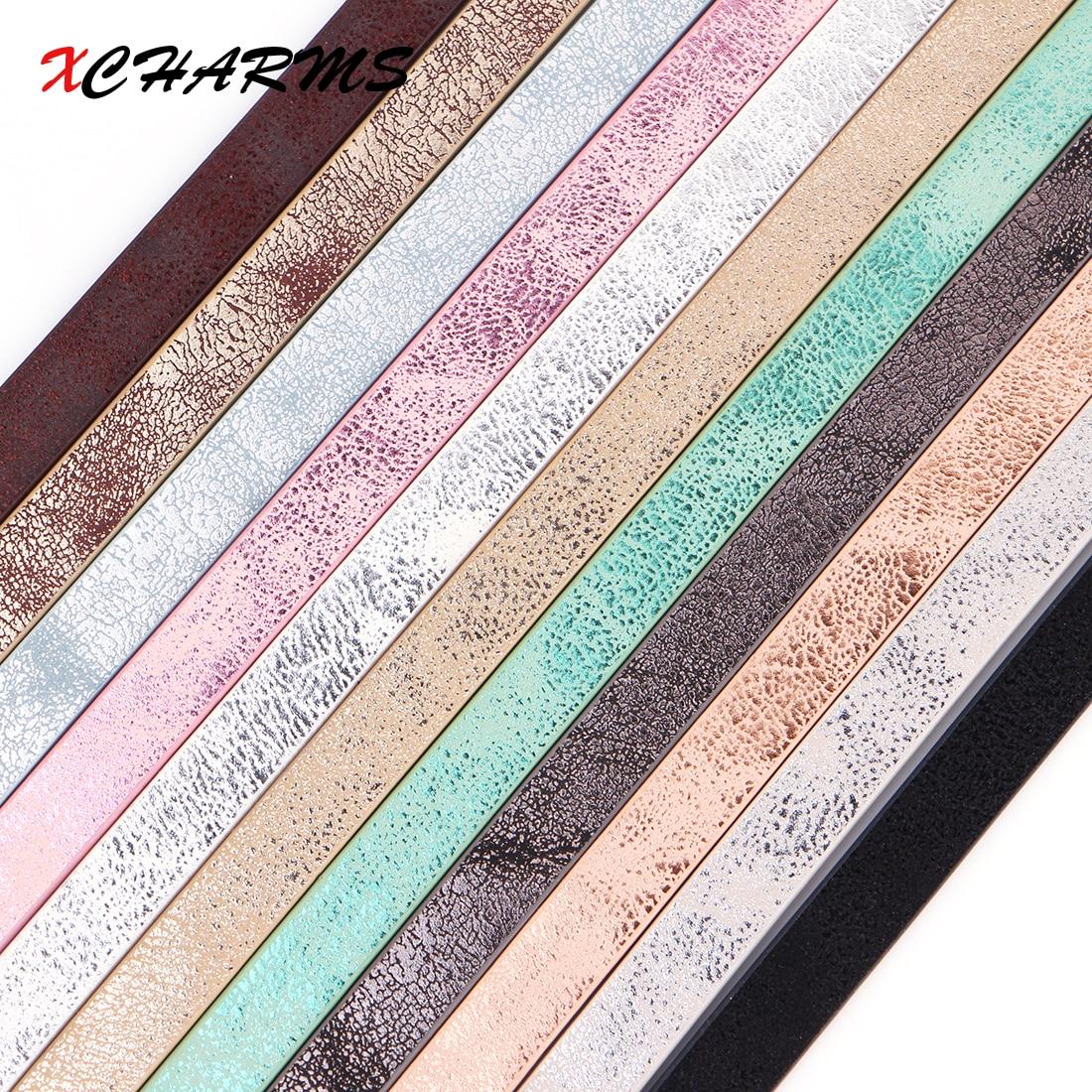 Плоский шнур XCHARMS 10 мм из искусственной кожи, веревка ручной работы для самостоятельного изготовления ювелирных изделий, аксессуары, модные аксессуары для ювелирных изделий, материал для браслетов