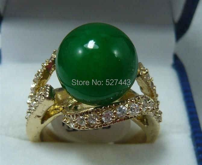 ขายส่งจัดส่งฟรี>>สวย18KGP 12มิลลิเมตรสีเขียวหินผู้หญิงขนาดแหวน7