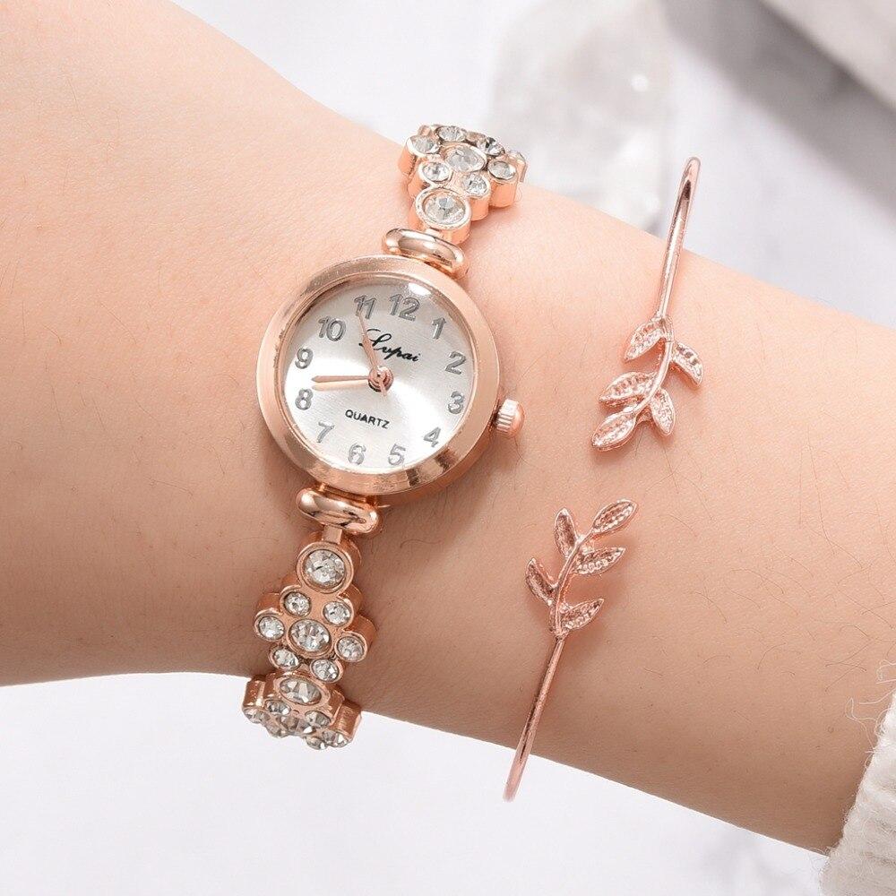 Lvpai Brand Bracelet Watch For Women Luxury Leaf Jewelry Bangle Charm Dress Clock 2019 Brand Women's Wristwatch reloj mujer set