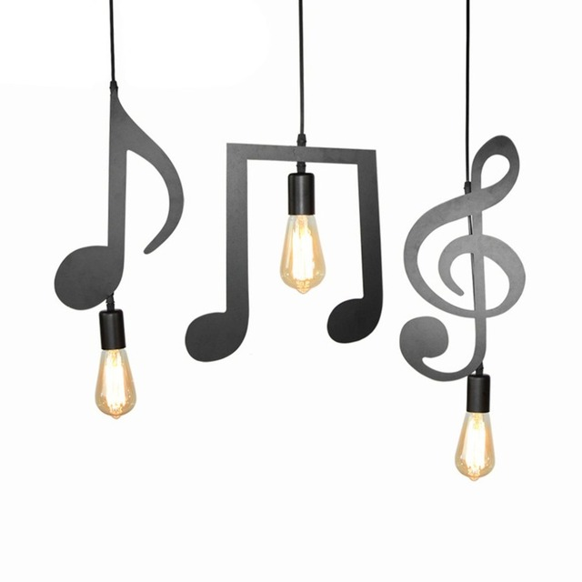 ICOCO Modern Design Iron Music Notes Lamp Holder with E27 Head for Bedroom