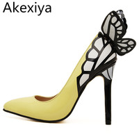 2016 Europe And The United States Vampire Diaries Female Butterfly Wings Pointed High Heeled Shoes Black