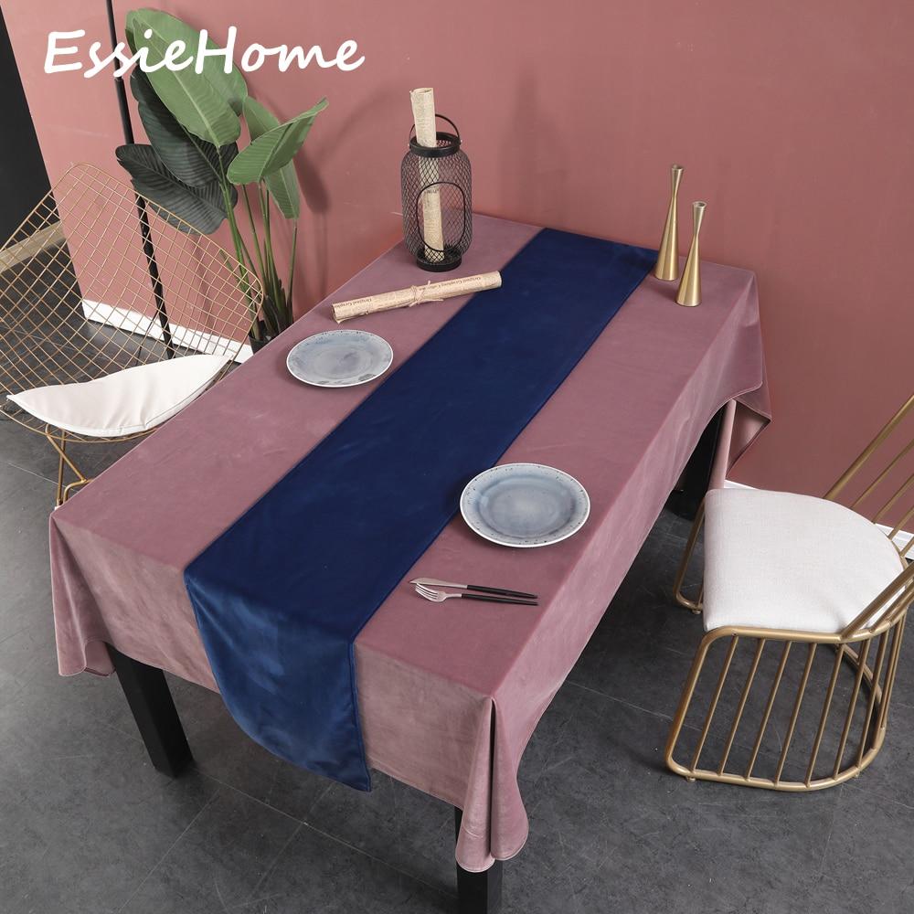 ESSIE HOME Royal Blue Dark Vivid  Single Side Matte Velvet High End Table Runner Wedding Decoration Placemat