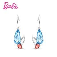 Barbie Romantique CZ Diamants Boucles D'oreilles Pour Femmes Filles Bleu Clair Couleur Givré Double Swan Boucles D'oreilles Puces Meilleur Bijoux Cadeau