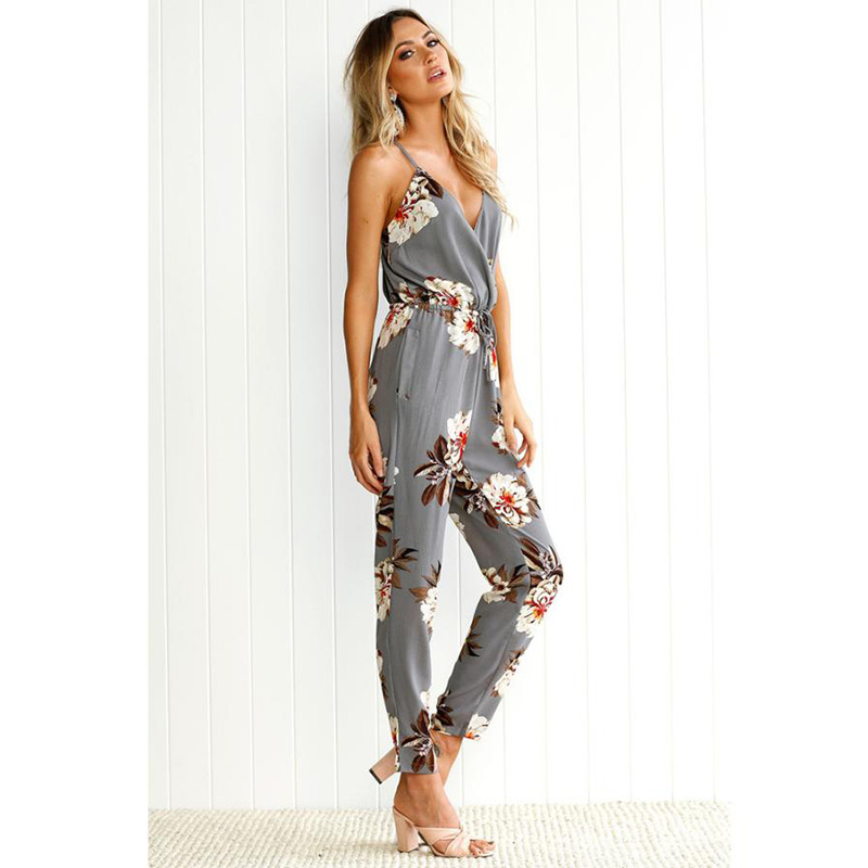 FEITONG Casual New Style 2020 Floral Print  Romper Playsuit V-Neck Sleeveless loose Polyester Gray Rompers Womens Jumpsuit#j1s