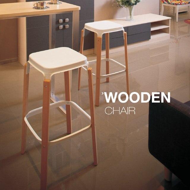78cm seat height replica modern design steelwood bar stool solid wooden leg metal steel base bar
