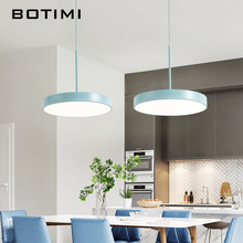 BOTIMI 220V Modern LED Pendant Lights with Round Metal Lampshade For Dining Room Simple Hanging Lamp kitchen Lighting Fixtures denmark louis poulsen ph snowball pendant lights modern aluminium lampshade led hanging lamp for dining room fixtures home decor