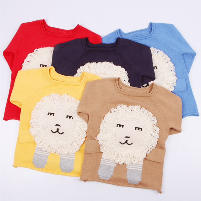 9737a5e04 Children Sweaters Handmade 3D Lion Boys Girls Sweater Long Sleeve ...