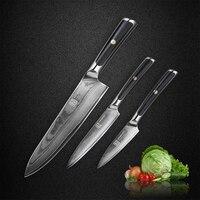 KEEMAKE Высокое качество 8 ''Повар 5'' Utility 3,5 ''нож Дамаск японский VG10 Сталь острое лезвие G10 ручка кухня ножей
